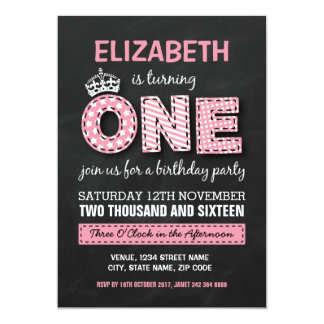 FIRST BIRTHDAY PARTY   CHALKBOARD PRINCESS CARD