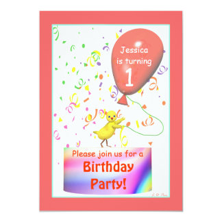 First Birthday Party Chicken Card