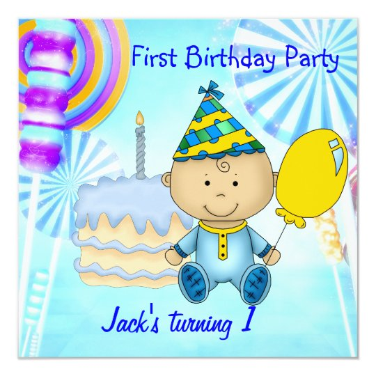 First Birthday Party Child's Boy Blue Cake Card