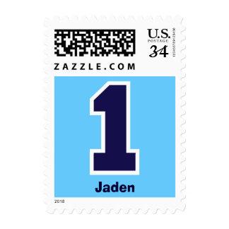 First Birthday Party DARK BLUE Big Number V005E Stamp