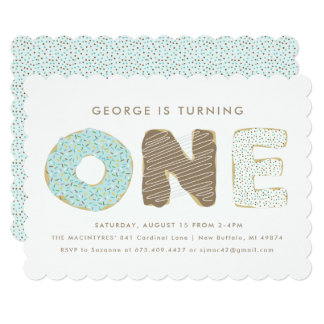 First Birthday Party Donut Theme Invitations