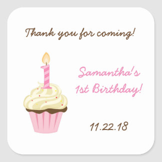 First birthday party favor stickers / pink cupcake