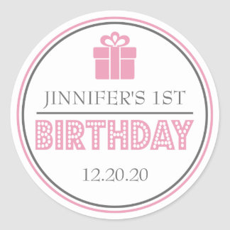First Birthday Party Favor Stickers (Pink / Gray)