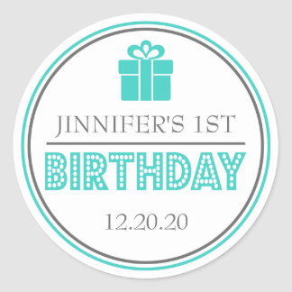 First Birthday Party Favor Stickers (Teal / Gray)