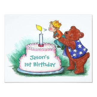 "FIRST BIRTHDAY PARTY INVITATION BEAR HOLDING BOY 4.25"" X 5.5"" INVITATION CARD"