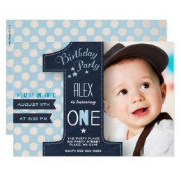 1st birthday invitations zazzle first birthday party invitation boy chalkboard filmwisefo Images