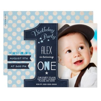 First Birthday Party Invitation Boy Chalkboard by CartitaDesign at Zazzle