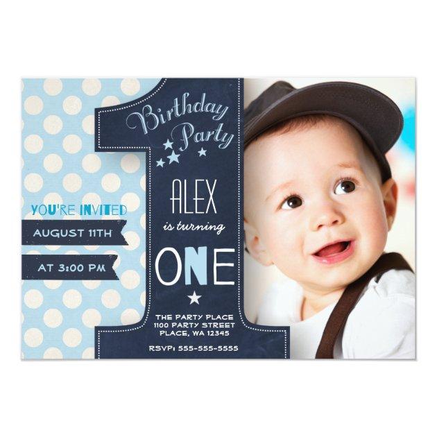 First Birthday Party Invitation Boy Chalkboard | Zazzle