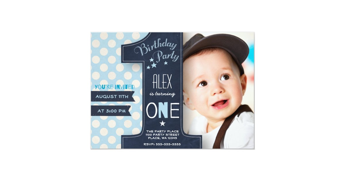 First Birthday Party Invitation Boy Chalkboard Zazzle