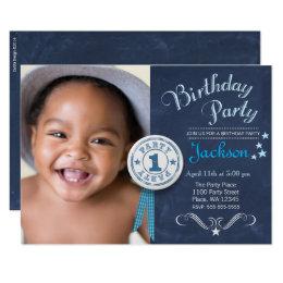 1st birthday boy invitations announcements zazzle first birthday party invitation boy chalkboard stopboris Image collections