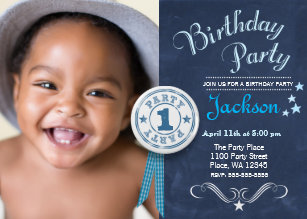 Boy 1st birthday invitations announcements zazzle first birthday party invitation boy chalkboard filmwisefo