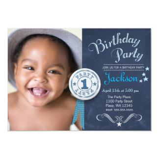 "First Birthday Party Invitation Boy Chalkboard 5"" X 7"" Invitation Card"