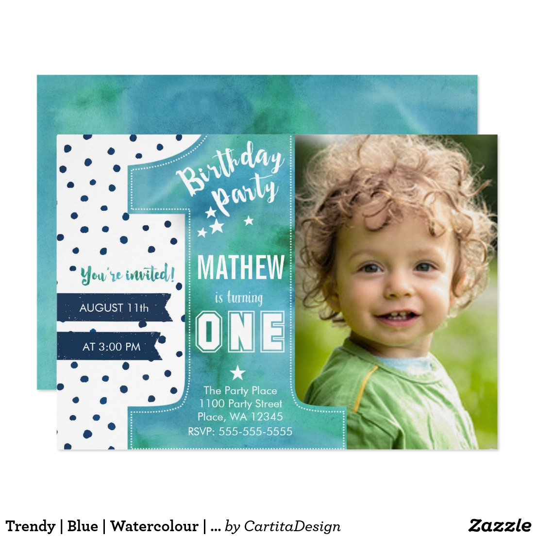 First Birthday Party Invitation Boy Watercolor