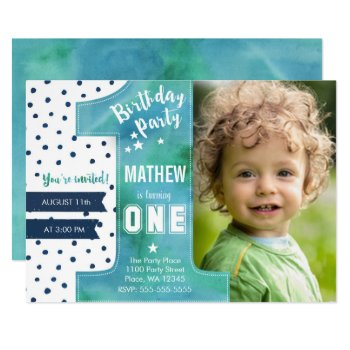 First Birthday Party Invitation Boy Watercolor by CartitaDesign at Zazzle
