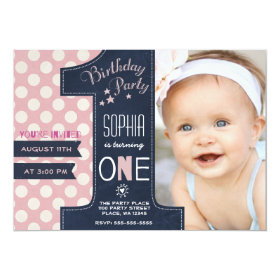 First Birthday Party Invitation Girl Chalkboard 5