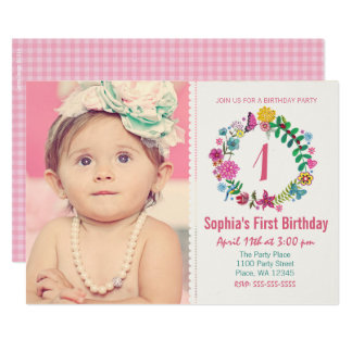 First Birthday Party Invitation Girl Flowers Photo