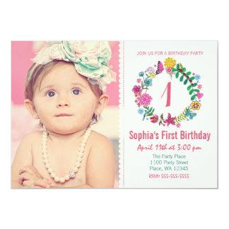 "First Birthday Party Invitation Girl Flowers Photo 5"" X 7"" Invitation Card"