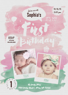 Girl first birthday invitations announcements zazzle first birthday party invitation girl watercolor stopboris Images