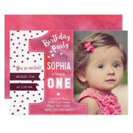 Girl first birthday invitations announcements zazzle first birthday party invitation girl watercolor bookmarktalkfo Image collections