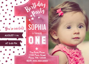 Girl 1st birthday invitations zazzle first birthday party invitation girl watercolor filmwisefo