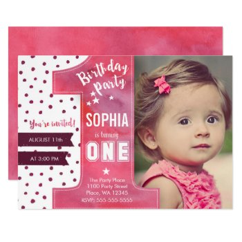 First Birthday Party Invitation Girl Watercolor by CartitaDesign at Zazzle