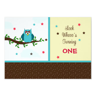 First Birthday Party Invitation-Owl on Tree