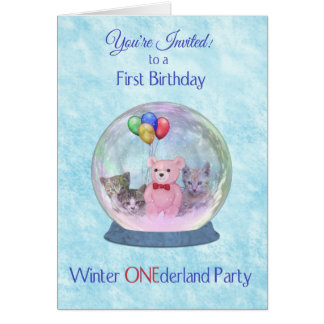 First Birthday Party Invitation Winter ONEderland