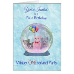 First Birthday Party Invitation Winter ONEderland Greeting Card