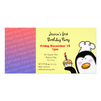 First birthday party invite birthday cupcake custom photo card