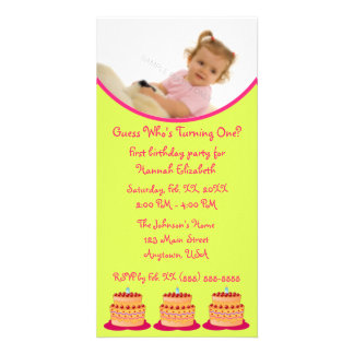 First Birthday Party Lime and Pink Cake Invitation Personalized Photo Card