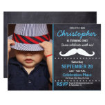 First birthday party, Mustache theme, photo Invitation