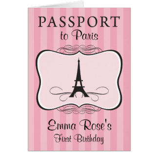 First Birthday Party Paris Passport Card