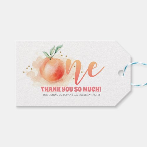 First Birthday Party Peach Fruit Gift Tags