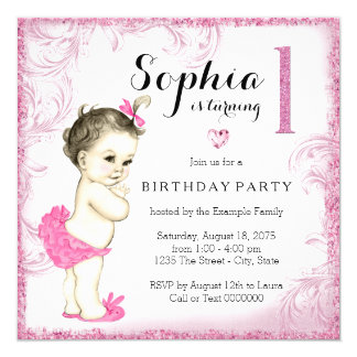 First Birthday Party Pink Glitter Girls Personalized Invitation Card