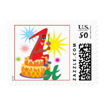 First Birthday Party Postage with Cake and Candle