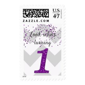 First Birthday Party Purple Glitter Postage