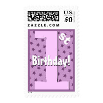 First Birthday Party Purple Stars V8IE Postage