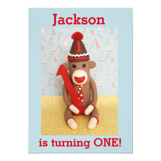 First Birthday Party Sock Monkey Invitation