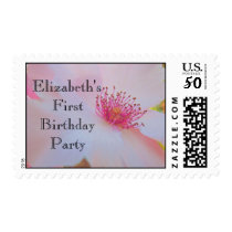 First Birthday Party stamps Pink Rose girl postage