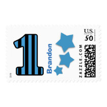 First Birthday Party Striped Number BLUE Stars A04 Postage