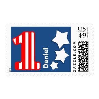 First Birthday Party Striped Number WHITE Stars A1 Stamps