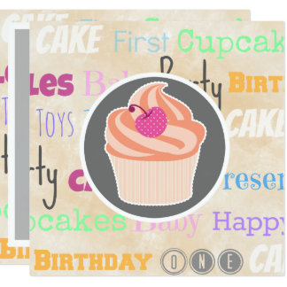 First Birthday Party Text and Peach Cupcake Card