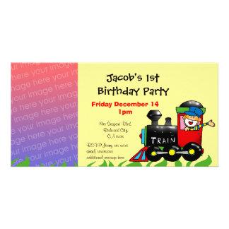 First birthday party train boy photo card