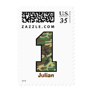 First Birthday Party WOODLAND CAMO V001 Postage