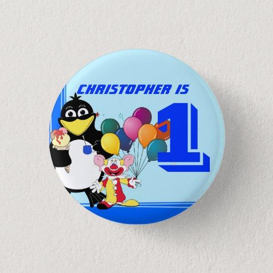 First birthday pinback button