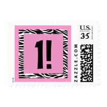 First Birthday Pink and Black Zebra Birthday Stamp