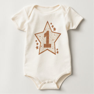 First Birthday Pink and Gold Star Baby Bodysuit