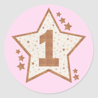 First Birthday Pink and Gold Star Classic Round Sticker