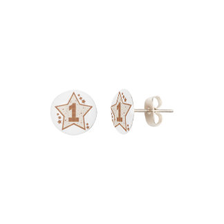 First Birthday Pink and Gold Star Earrings