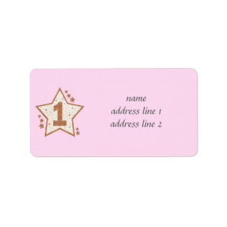 First Birthday Pink and Gold Star Label